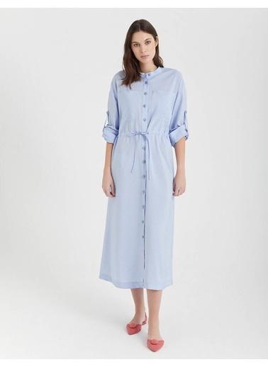 BGN Buz Mavisi - Uzun Gömlek Elbise Mavi